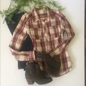 Roxy button down plaid shirt
